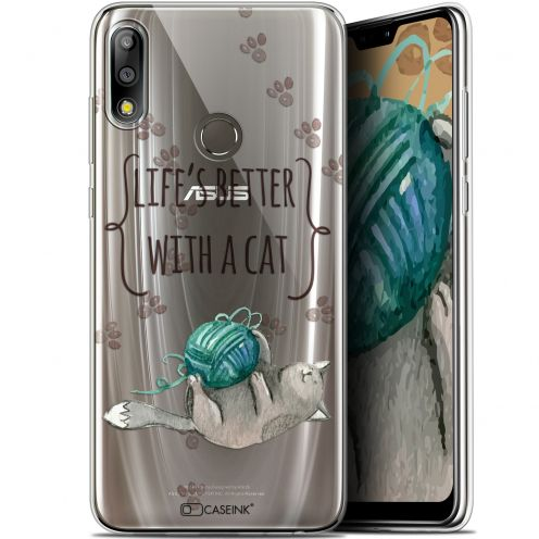 "Carcasa Gel Extra Fina Asus Zenfone Max Pro (M2) ZB631KL (6.26"") Quote Life's Better With a Cat"