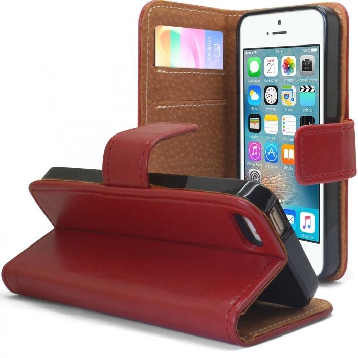 06a9a6f2e4b Funda Italia Folio para Apple iPhone 5/5S/SE Cuero Auténtico Roja