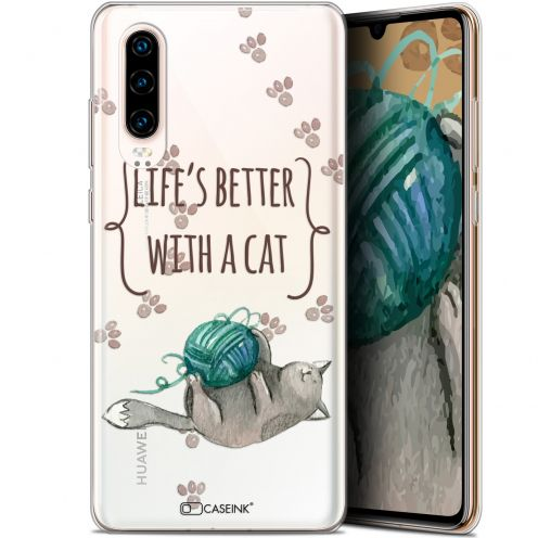 "Carcasa Gel Extra Fina Huawei P30 (6.1"") Quote Life's Better With a Cat"