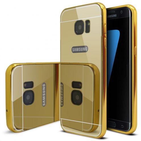 Bumper Samsung Galaxy S7 Edge Aluminium y Ventana Mirror Oro