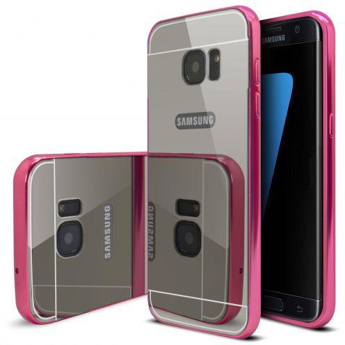 Bumper Samsung Galaxy S7 Edge Aluminium y Ventana Mirror Rosa