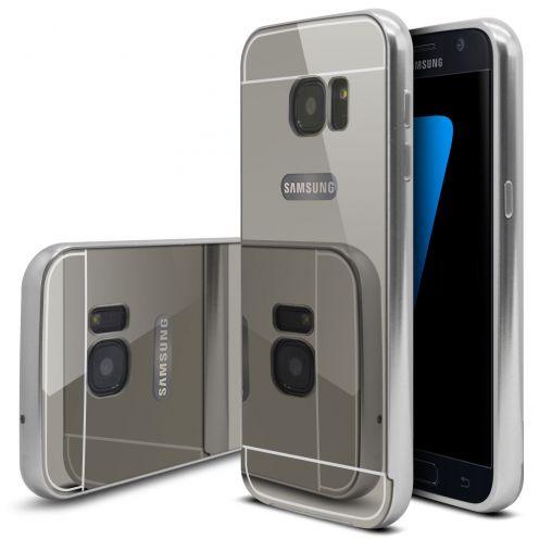 Bumper Samsung Galaxy S7 Aluminium y Ventana Mirror Plata