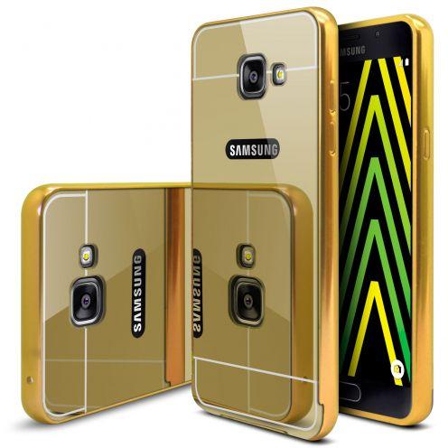 Bumper Samsung Galaxy A5 2016 (A510) Aluminium y Ventana Mirror Oro