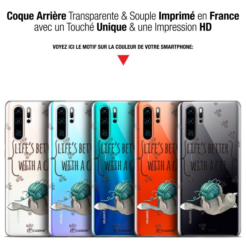 """Carcasa Gel Extra Fina Huawei P30 Pro (6.47"""") Quote Life's Better With a Cat"""