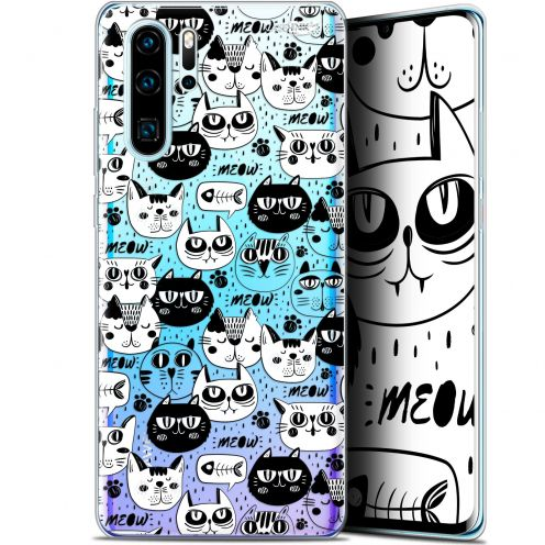 "Carcasa Gel Extra Fina Huawei P30 Pro (6.47"") Design Chat Noir Chat Blanc"