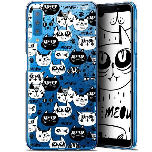 "Carcasa Gel Extra Fina Samsung Galaxy A7 2018 (A750) (6"") Design Chat Noir Chat Blanc"