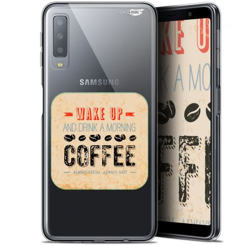"Carcasa Gel Extra Fina Samsung Galaxy A7 2018 (A750) (6"") Design Wake Up With Coffee"