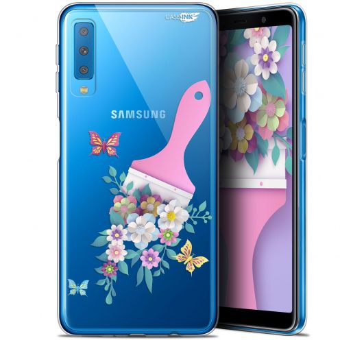 "Carcasa Gel Extra Fina Samsung Galaxy A7 2018 (A750) (6"") Design Pinceau à Fleurs"