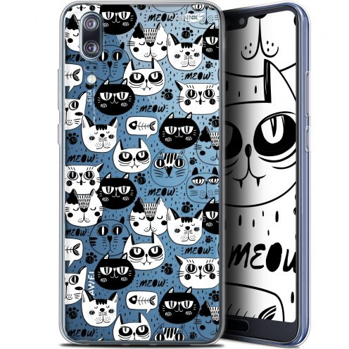 "Carcasa Gel Extra Fina Huawei P20 (5.8"") Design Chat Noir Chat Blanc"