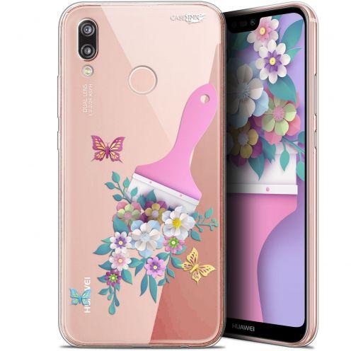 "Carcasa Gel Extra Fina Huawei P20 Lite (5.84"") Design Pinceau à Fleurs"