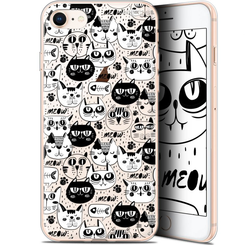 "Carcasa Gel Extra Fina Apple iPhone 7/8 (4.7"") Design Chat Noir Chat Blanc"
