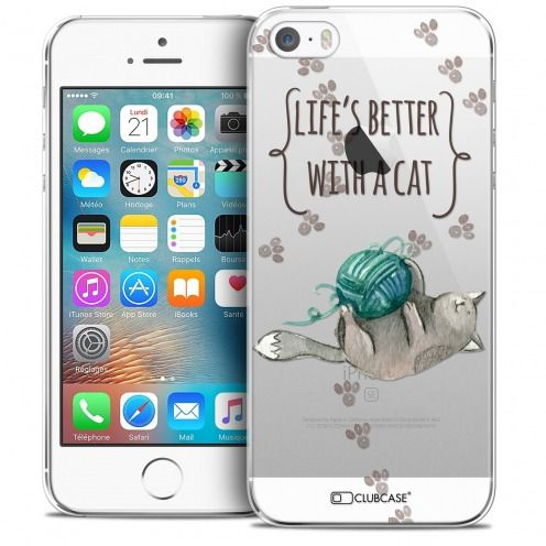 Carcasa Crystal Extra Fina iPhone 5/5s/SE Quote Life's Better With a Cat
