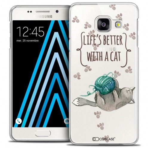 Carcasa Crystal Extra Fina Galaxy A3 2016 (A310) Quote Life's Better With a Cat