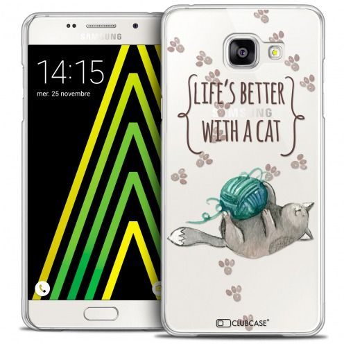 Carcasa Crystal Extra Fina Galaxy A5 2016 (A510) Quote Life's Better With a Cat