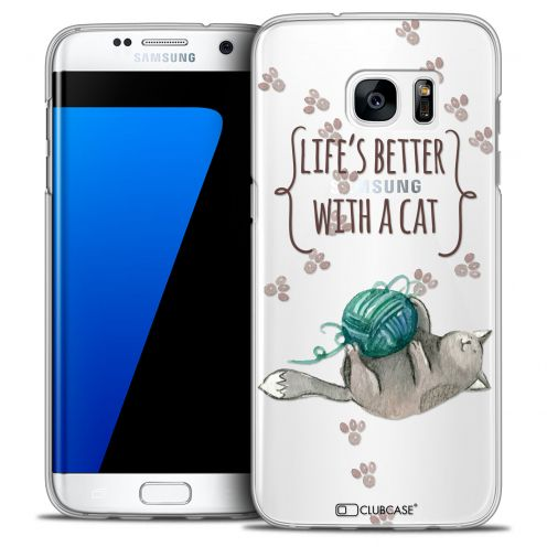 Carcasa Crystal Extra Fina Galaxy S7 Edge Quote Life's Better With a Cat