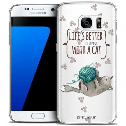Carcasa Crystal Extra Fina Galaxy S7 Quote Life's Better With a Cat