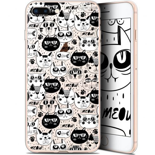 "Carcasa Gel Extra Fina Apple iPhone 7/8 Plus (4.7"") Design Chat Noir Chat Blanc"
