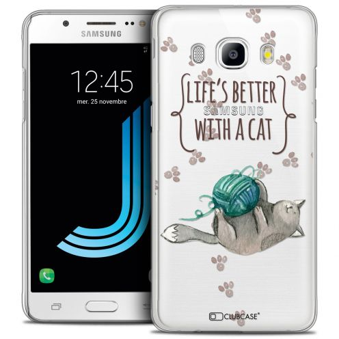Carcasa Crystal Extra Fina Galaxy J5 2016 (J510) Quote Life's Better With a Cat