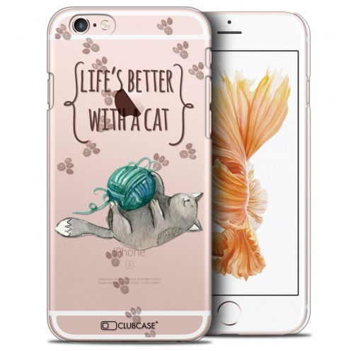 Carcasa Crystal Extra Fina iPhone 6/6s (4.7) Quote Life's Better With a Cat