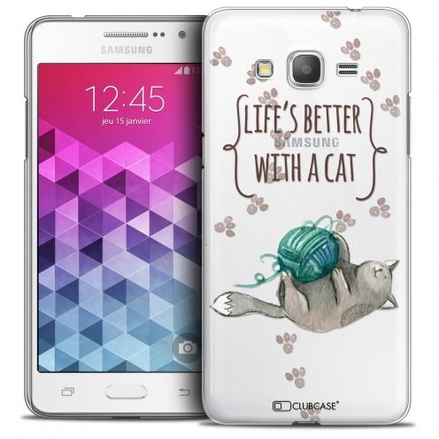 Carcasa Crystal Extra Fina Galaxy Grand Prime Quote Life's Better With a Cat