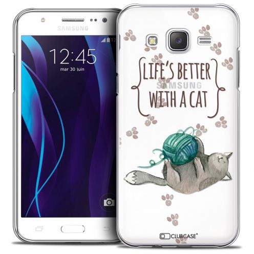 Carcasa Crystal Extra Fina Galaxy J5 (J500) Quote Life's Better With a Cat