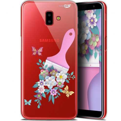 "Carcasa Gel Extra Fina Samsung Galaxy J6 Plus J6+ (6.4"") Design Pinceau à Fleurs"
