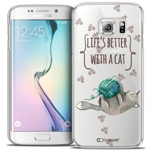 Carcasa Crystal Extra Fina Galaxy S6 Edge Quote Life's Better With a Cat