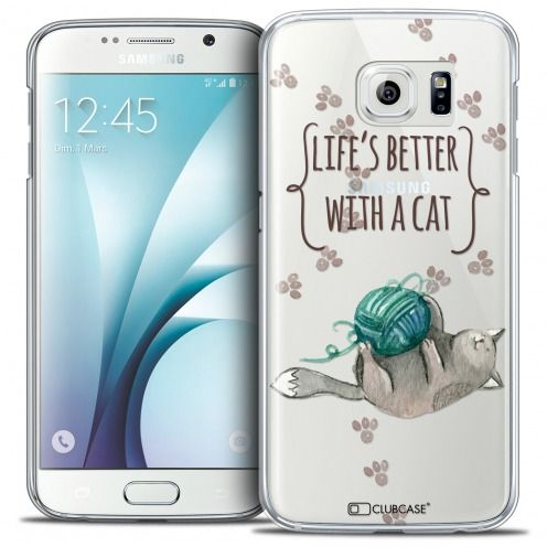Carcasa Crystal Extra Fina Galaxy S6 Quote Life's Better With a Cat