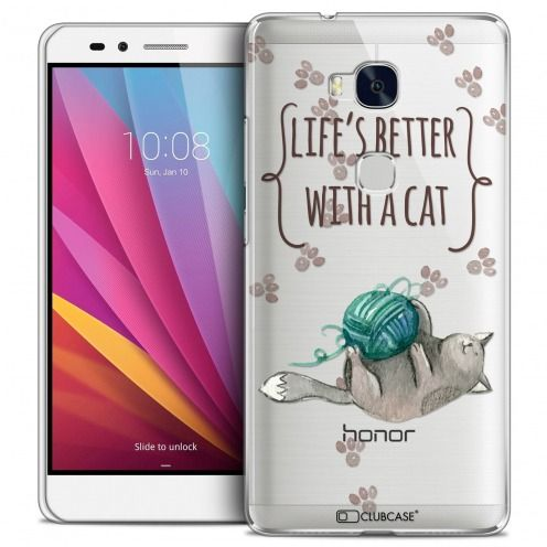 Carcasa Crystal Extra Fina Honor 5X Quote Life's Better With a Cat