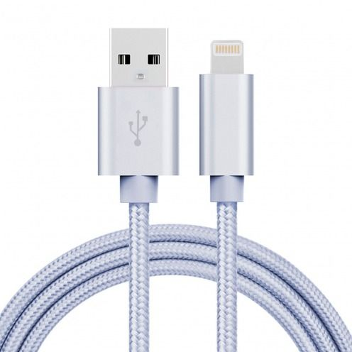 Cable USB de 8 pines 3A Strong Fast Charge Series - iOS 8/9 - 1m - Plata