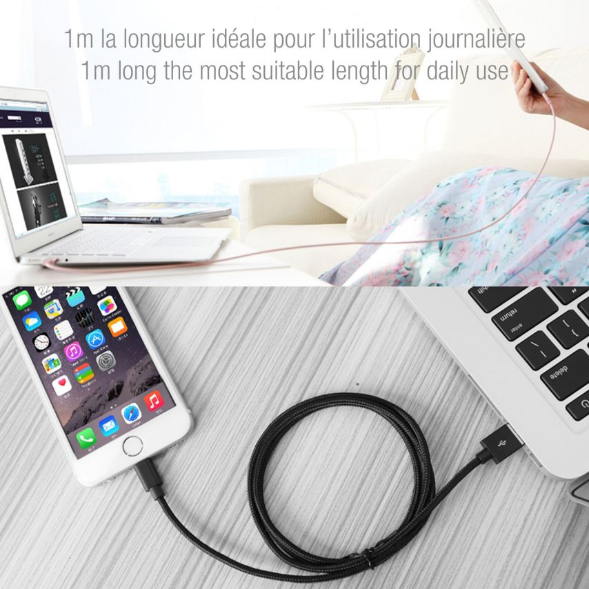 Cable USB de 8 pines 3A Strong Fast Charge Series - iOS 8/9 - 1m - Rosa