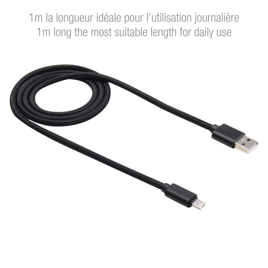 Cable USB de 8 pines 3A Strong Fast Charge Series - iOS 8/9 - 1m - Negro