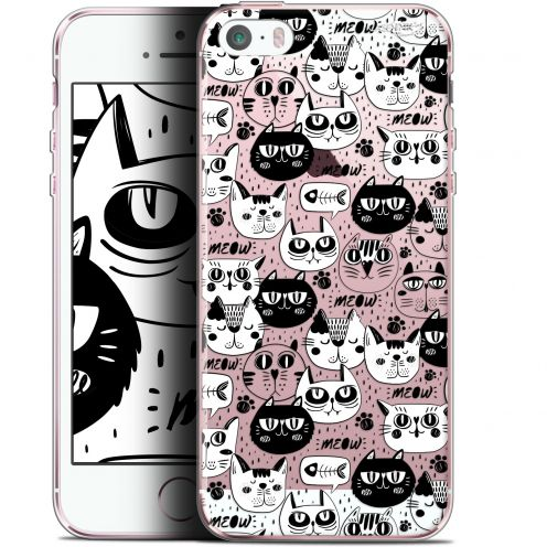 "Carcasa Gel Extra Fina Apple iPhone 5/5s/SE (4"") Design Chat Noir Chat Blanc"