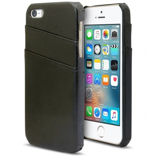 Carcasa iPhone SE/5s/5 Leather Business Extra Fina Con ranura para tarjetas Negro