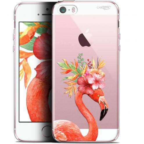"Carcasa Gel Extra Fina Apple iPhone 5/5s/SE (4"") Design Flamant Rose Fleuri"