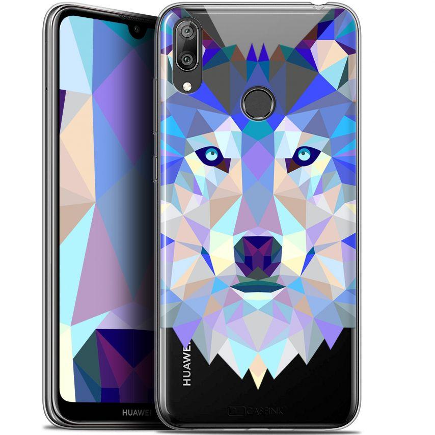 """Carcasa Gel Extra Fina Huawei Y7 / Prime / Pro 2019 (6.26"""") Polygon Animals Lobo"""