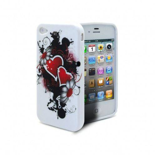 Carcasa iPhone 4S/4 HEARTS ABSTRACTION Roja