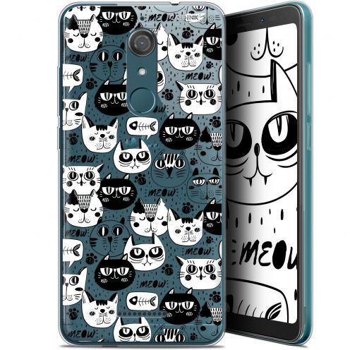 "Carcasa Gel Extra Fina Wiko View (5.7"") Design Chat Noir Chat Blanc"