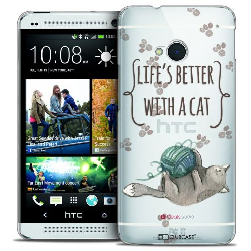 Carcasa Crystal Extra Fina HTC One (M7) Quote Life's Better With a Cat