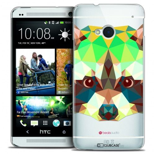 Carcasa Crystal Extra Fina HTC One (M7) Polygon Animals Mapache