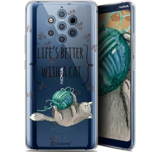 """Carcasa Gel Extra Fina Nokia 9 PureView (6"""") Quote Life's Better With a Cat"""