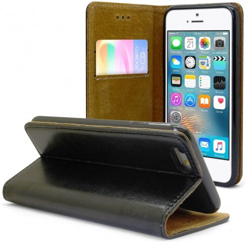 Funda Italia Folio para Apple iPhone 6 / 6s Cuero Auténtico Negro