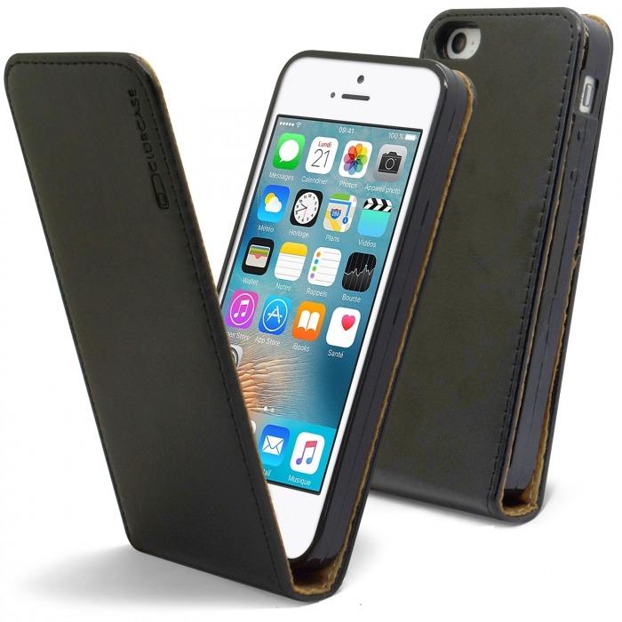 ac165744379 Funda Italia Flip para Apple iPhone 5/5S/SE Cuero Auténtico Negro