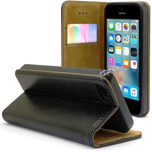 Funda Italia Folio para Apple iPhone 5/5S/SE Cuero Auténtico Negro