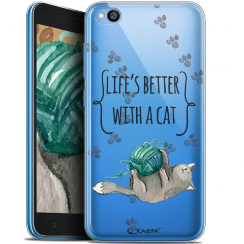 """Carcasa Gel Extra Fina Xiaomi Redmi Go (5"""") Quote Life's Better With a Cat"""
