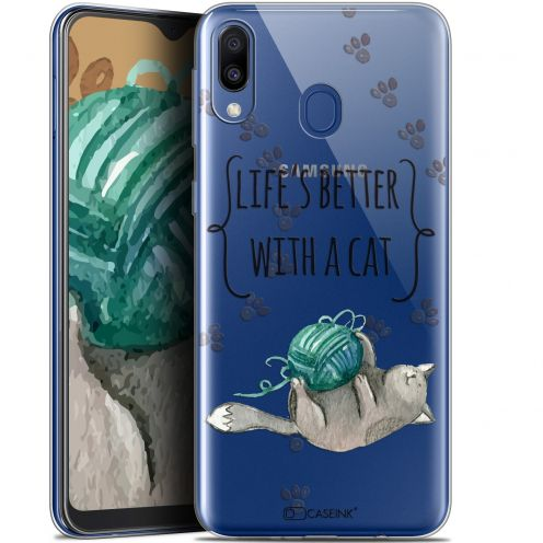 """Carcasa Gel Extra Fina Samsung Galaxy M20 (6.3"""") Quote Life's Better With a Cat"""