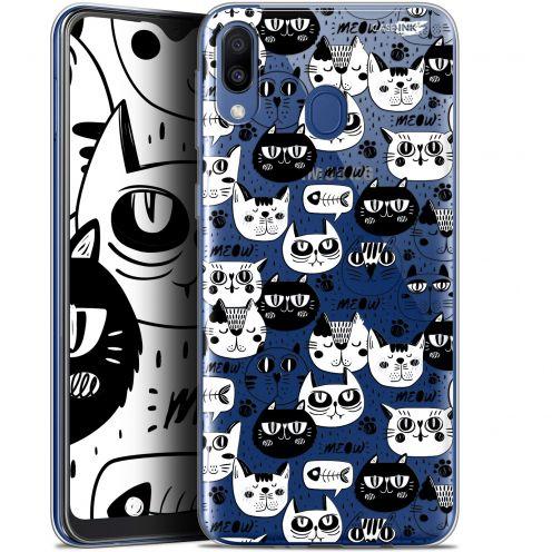 "Carcasa Gel Extra Fina Samsung Galaxy M20 (6.3"") Design Chat Noir Chat Blanc"