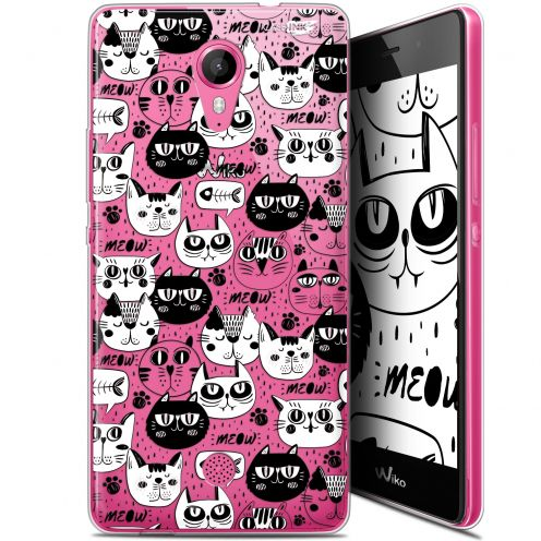 """Carcasa Gel Extra Fina Wiko Tommy (5"""") Design Chat Noir Chat Blanc"""