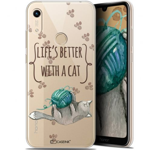 "Carcasa Gel Extra Fina Huawei Honor 8A (6.1"") Quote Life's Better With a Cat"