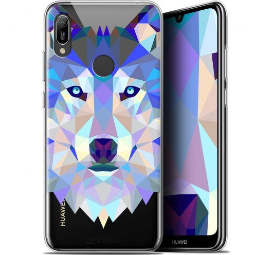 """Carcasa Gel Extra Fina Huawei Y6 2019 (6.1"""") Polygon Animals Lobo"""